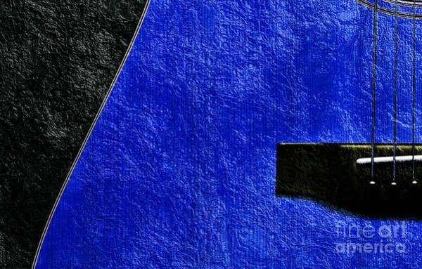Photograph - Hour Glass Guitar 4 Colors 1 - Tetraptych - Blue Corner - Music - Abstract by Andee Design