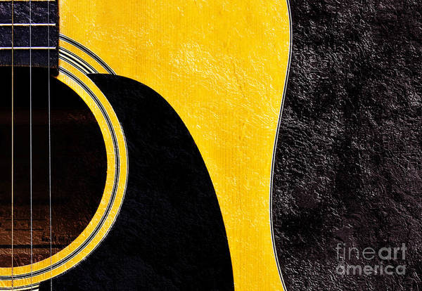 Photograph - Hour Glass Guitar 4 Colors 1 - Tetraptych - Yellow Corner - Music - Abstract by Andee Design