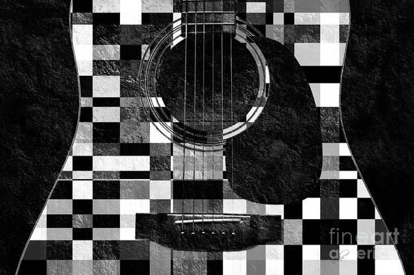 Photograph - Hour Glass Guitar Random Bw Squares by Andee Design