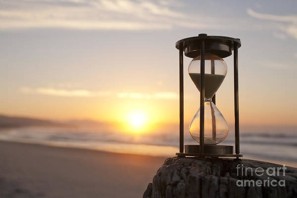 Deadline Wall Art - Photograph - Hourglass Sand Timer Beach Sunrise by Colin and Linda McKie