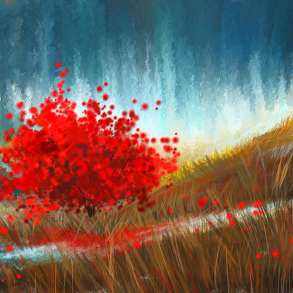 Lone Tree Painting - Hours Of Autumn- Turquoise And Red by Lourry Legarde