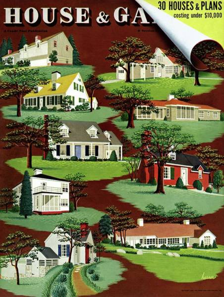 Architecture Photograph - House & Garden Cover Illustration Of 9 Houses by Robert Harrer