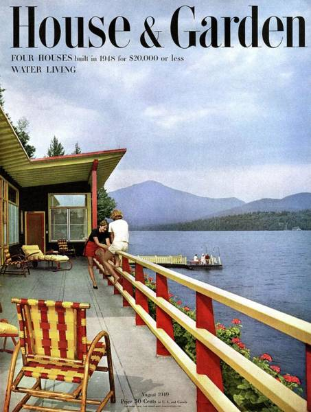 Outdoor Furniture Photograph - House & Garden Cover Of Women Sitting On The Deck by Robert M. Damora