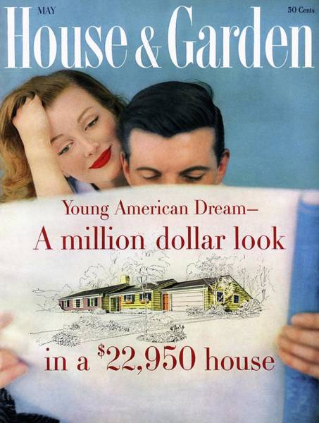 Reading Photograph - House & Garden Cover Of Young Couple Looking by Karen Radkai