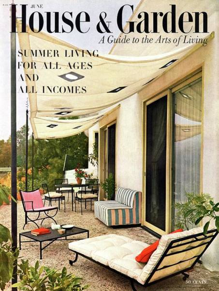 Outdoor Furniture Photograph - House And Garden Cover Of A Furnished Patio by Julius Shulman