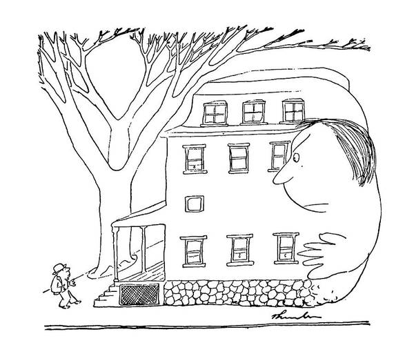 House Drawing - House And Woman by James Thurber