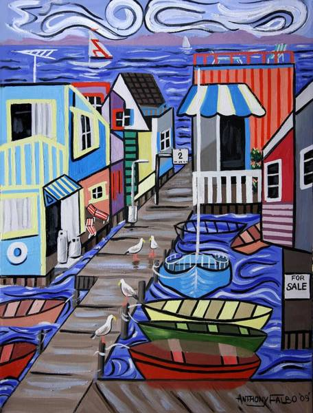 Painting - House Boats For Sale by Anthony Falbo