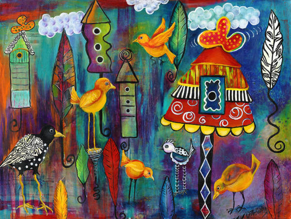 Birdhouse Painting - House Hunting by Debbie McCulley