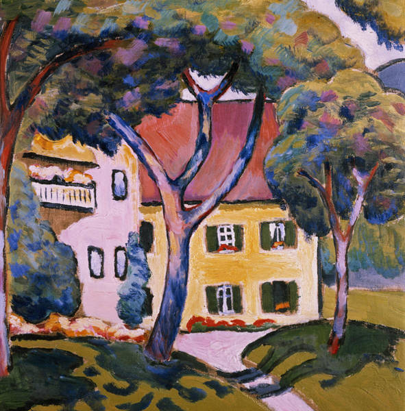 The Blue Rider Wall Art - Painting - House In A Landscape by August Macke