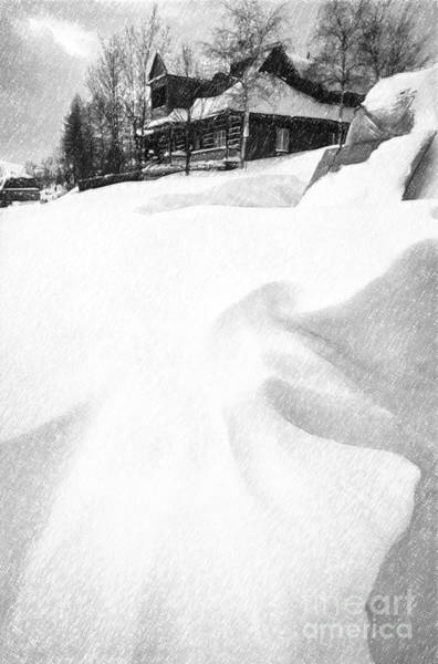 Pencil Sketch Photograph - House In Snow by Rod McLean
