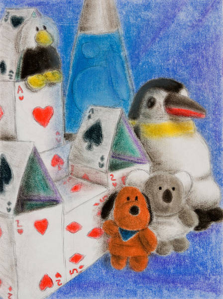 Lava Drawing - House Of Cards Still Life by Jeanette K