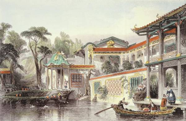 Palace Drawing - House Of Conseequa, A Chinese Merchant by Thomas Allom