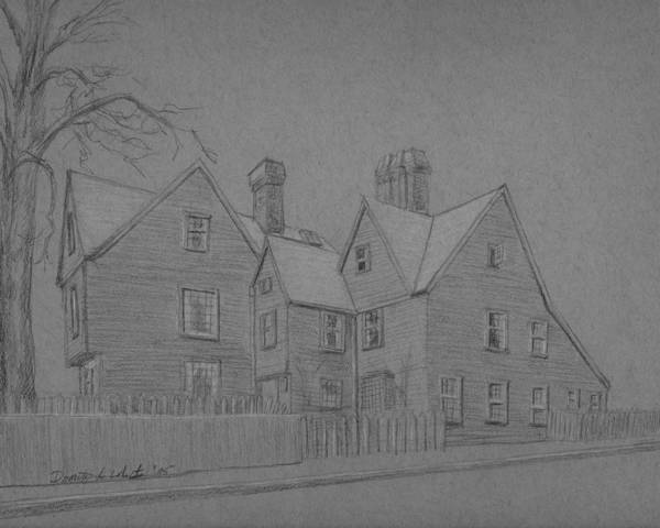 Drawing - House Of The Seven Gables by Dominic White
