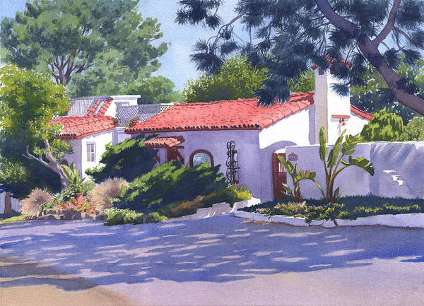 Commission Wall Art - Painting - House On Crest Del Mar by Mary Helmreich