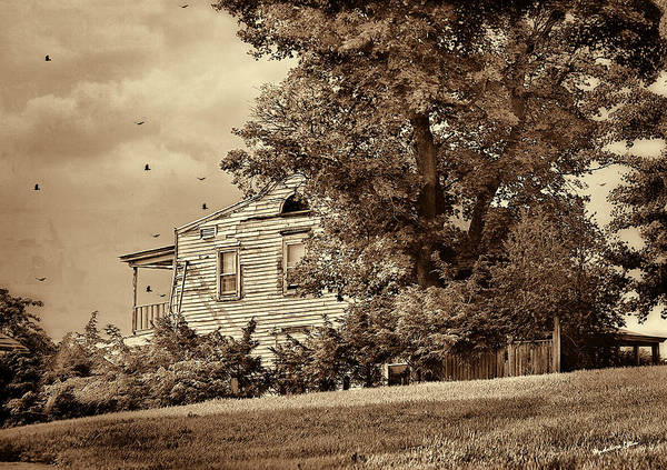 Houses Wall Art - Photograph - House On The Hill In Sepia by Madeline Ellis