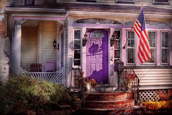 Photograph - House - Porch - Cranford Nj - Lovely In Lavender  by Mike Savad