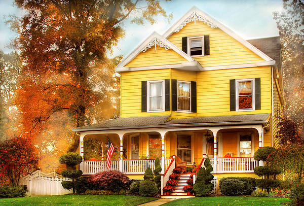 Photograph - House - Westfield Nj - Yellow Lace -  Dream House by Mike Savad