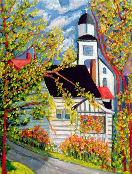 Nova Scotia Painting - House With Church Badeck by Patricia Eyre
