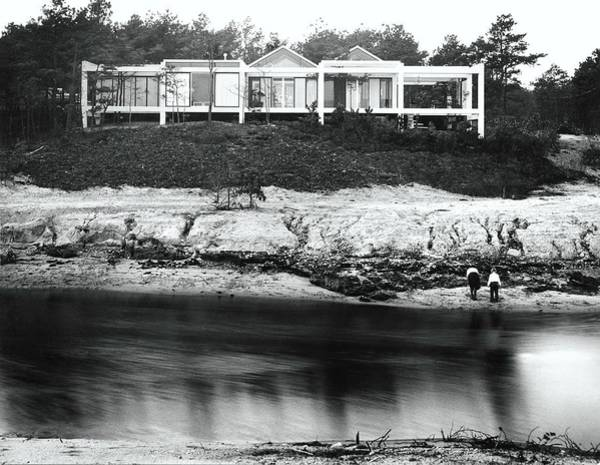 Facade Photograph - House With Glass Gabled Roofs Near A Beach by Robert M. Damora