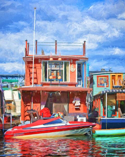 Powerboat Photograph - Houseboat #2 - Lake Union - Seattle by Nikolyn McDonald
