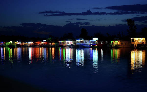 Dal Lake Photograph - Houseboats In Lights-2 by Anand Purohit