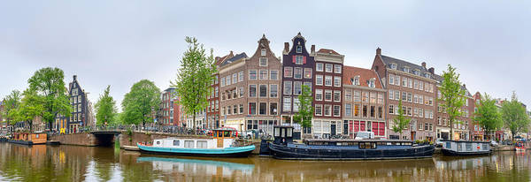 Prinsengracht Photograph - Houses And Canal Boats by Panoramic Images