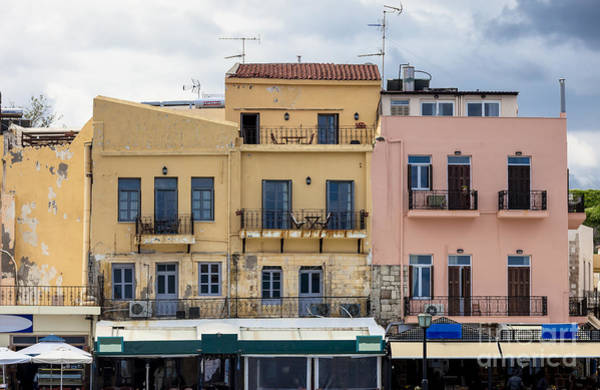 Taverna Photograph - Houses At The Harbor In Chania Crete by Frank Bach