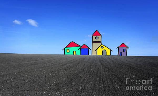 Compose Wall Art - Photograph - Houses. Field Concept by Bernard Jaubert