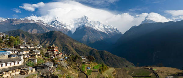 Wall Art - Photograph - Houses In A Town On A Hill, Ghandruk by Panoramic Images