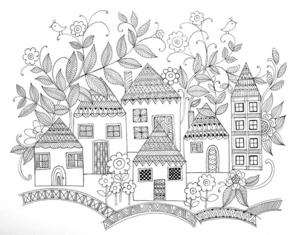 Colours Drawing - Houses by MGL Meiklejohn Graphics Licensing