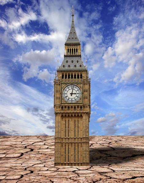 Soil Science Wall Art - Photograph - Houses Of Parliament And Cracked Earth by Victor De Schwanberg/science Photo Library