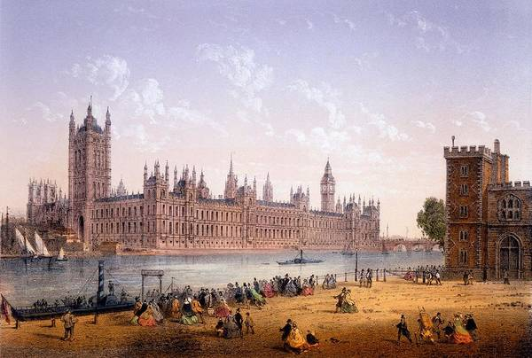 River Bank Drawing - Houses Of Parliament From The South by Achille-Louis Martinet