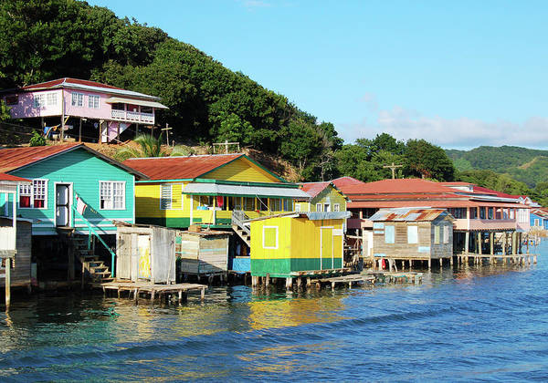 Roatan Photograph - Houses On The Coast Of Roatan, Honduras by Wildroze