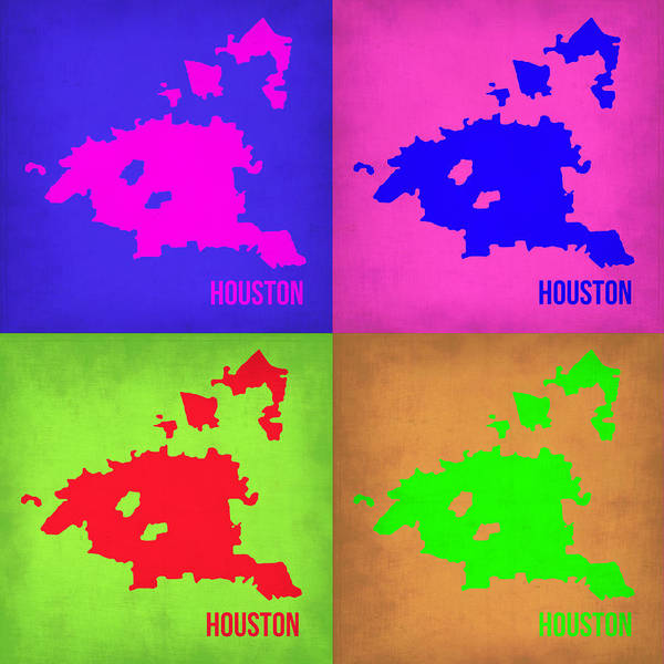Wall Art - Painting - Houston Pop Art Map 1 by Naxart Studio