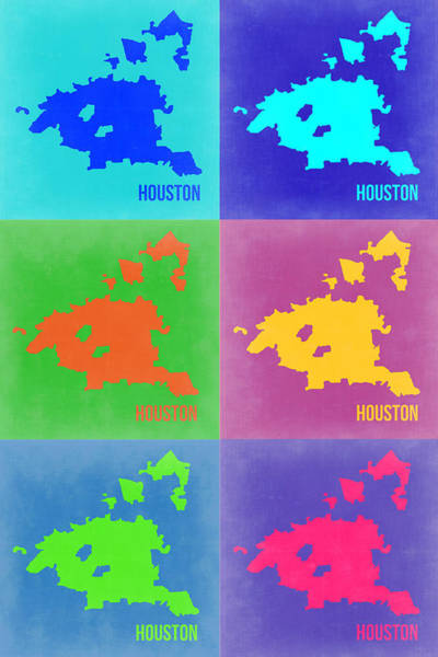 Houston Texas Painting - Houston Pop Art Map 3 by Naxart Studio