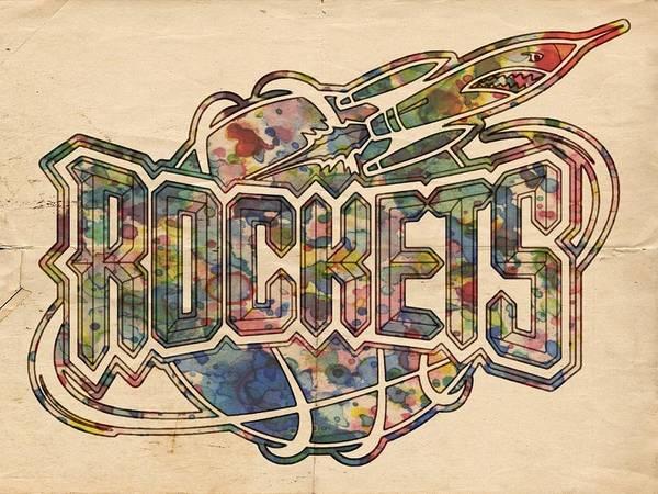 Slamdunk Wall Art - Painting - Houston Rockets Retro Poster by Florian Rodarte