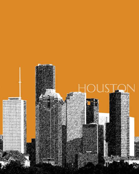 Wall Art - Digital Art - Houston Skyline - Dark Orange by DB Artist