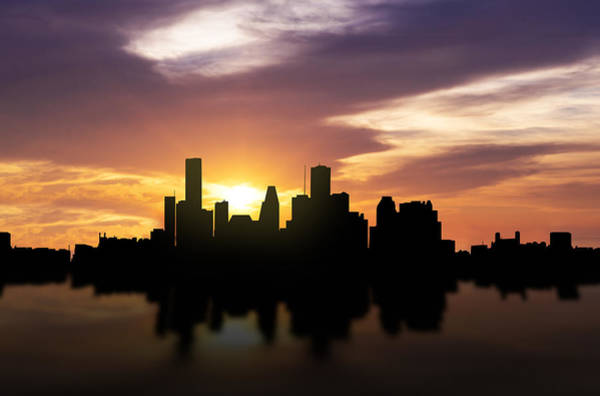 Wall Art - Photograph - Houston Sunset Skyline  by Aged Pixel