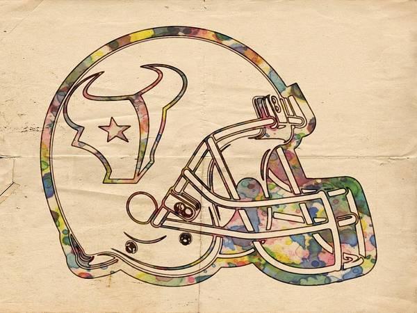 Painting - Houston Texans Vintage Helmet by Florian Rodarte