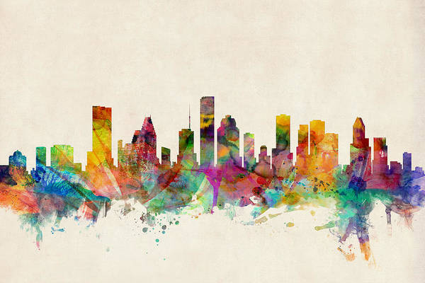 Watercolours Wall Art - Digital Art - Houston Texas Skyline by Michael Tompsett
