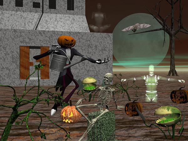 Pumpkinhead Wall Art - Digital Art - How Does Your Garden Grow by Michele Wilson