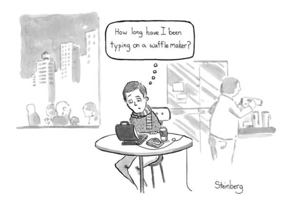 Avi Steinberg Drawing - How Long Have I Been Typing On A Waffle Maker? by Avi Steinberg