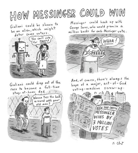 Hook Drawing - How Messinger Could Win by Roz Chast