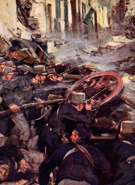 Shooting Painting - How The Brave Belgians Held Up The German Advance by Cyrus Cuneo