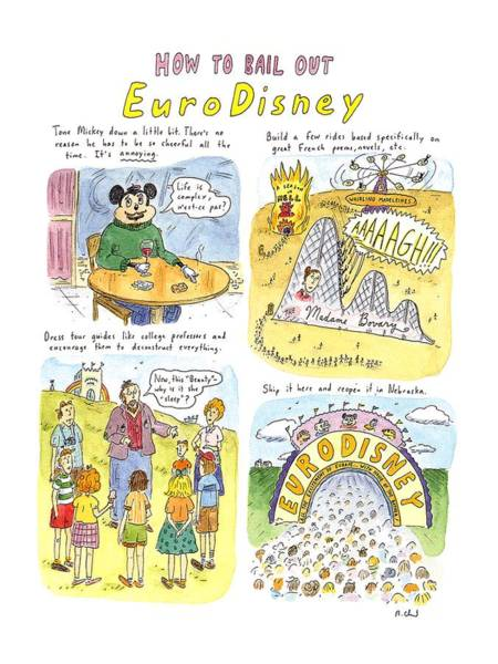 Work Out Drawing - How To Bail Out Eurodisney by Roz Chast