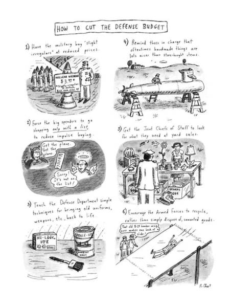 Recycle Drawing - How To Cut The Defense Budget by Roz Chast