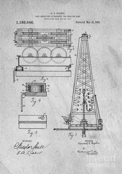 Create Digital Art - Howard Huges Drilling Rig Original Patent by Edward Fielding