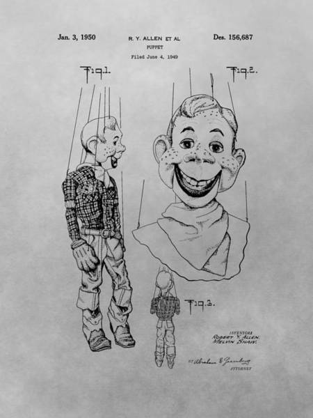 Wall Art - Drawing - Howdy Doody Patent Drawing by Dan Sproul