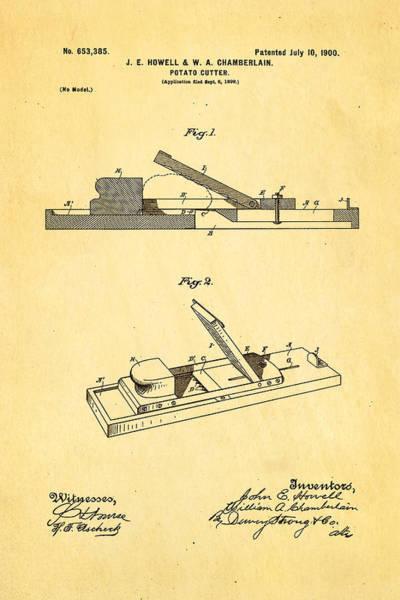Wall Art - Photograph - Howell And Chamberlain French-fry Potato Cutter Patent Art 1900 by Ian Monk