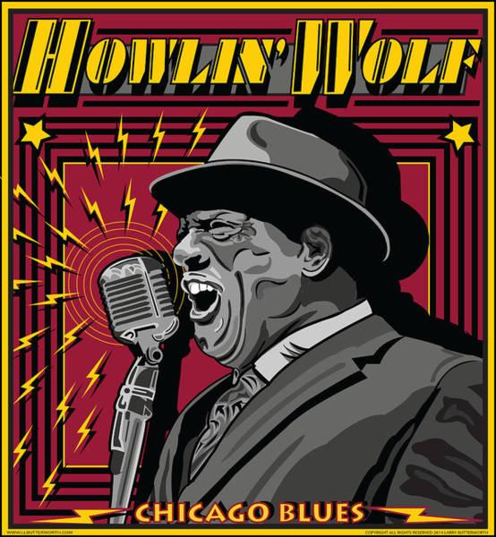 Wall Art - Digital Art - Howlin' Wolf Chicago Blues Legend by Larry Butterworth